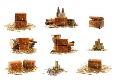 Treasure chest isolated on white background stock vector