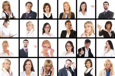 Many business portraits isolated on white