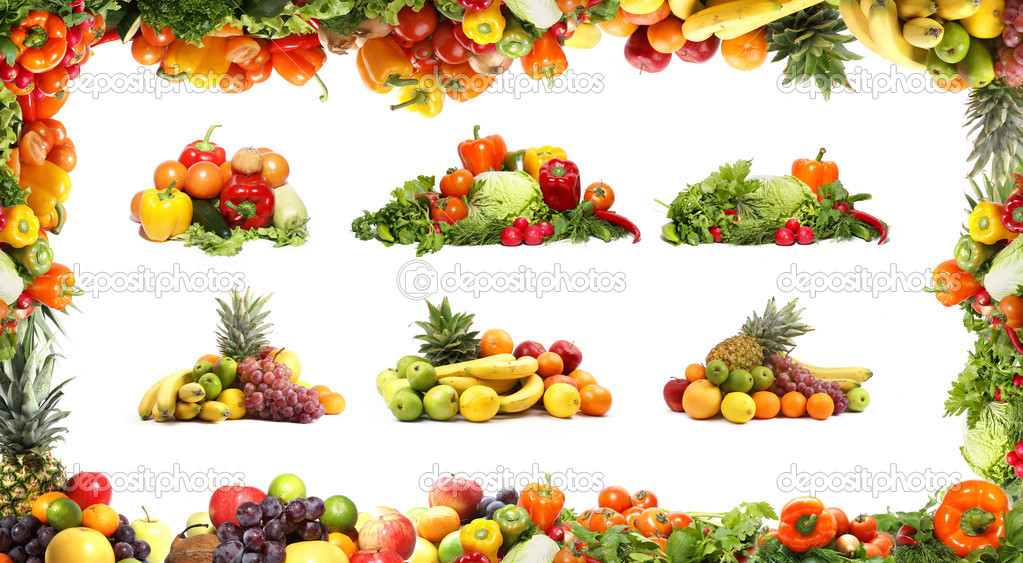 Different fresh tasty vegetables isolated fractal