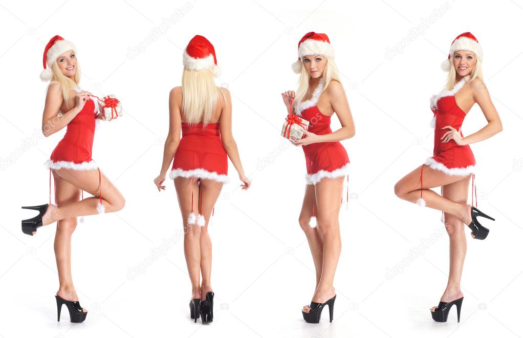 Young attractive sexy Santa isolated on white background