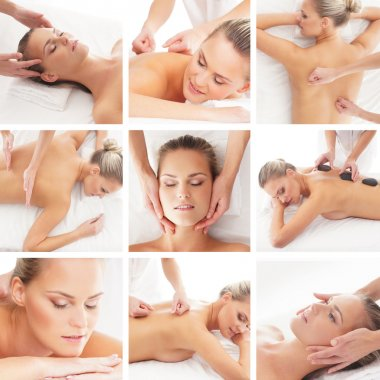 Spa collage: different tipes of massage