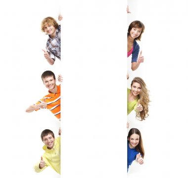 Teenagers with the blank white banner. Perfect space to put any text. stock vector