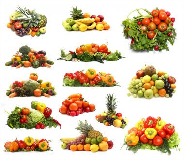 Set of different piles of fruits and vegetables