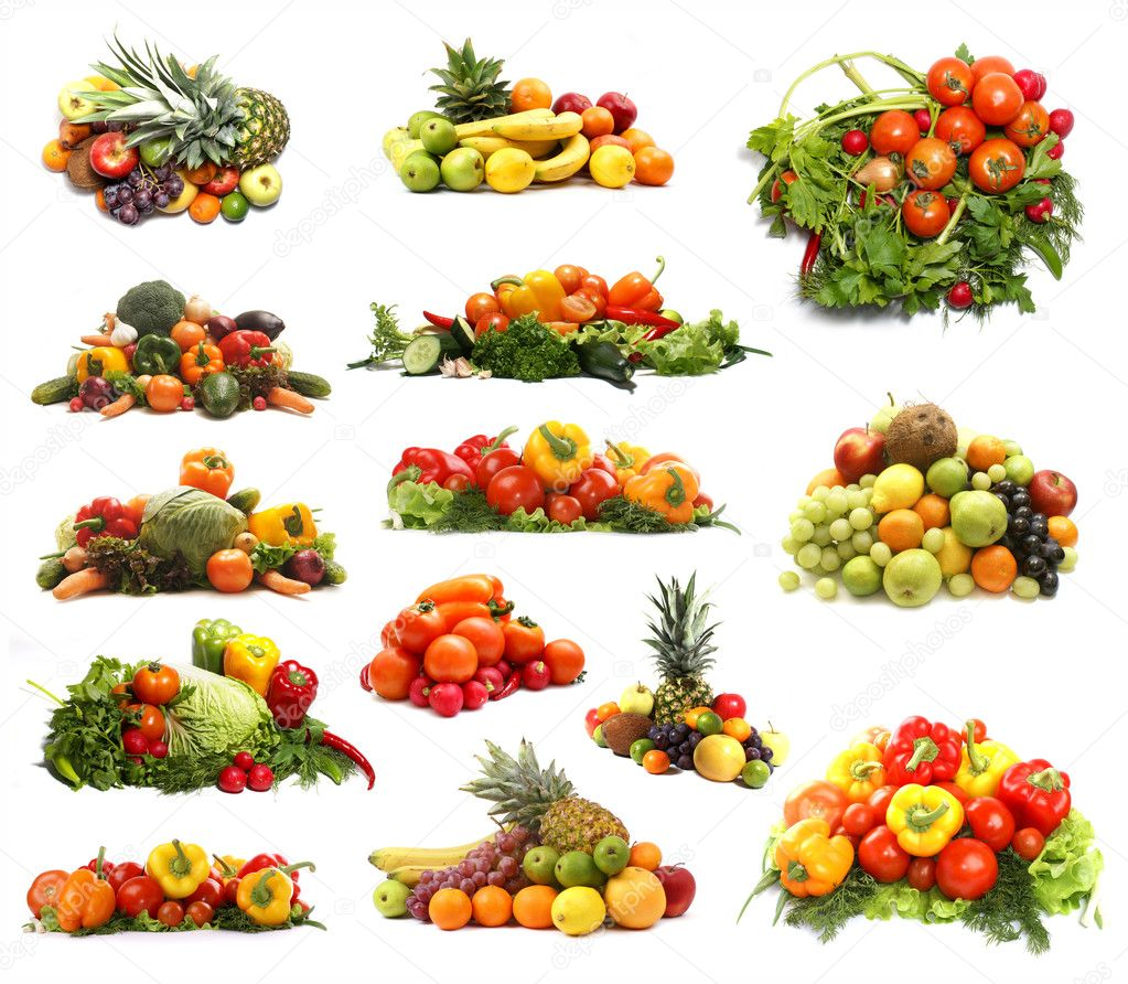 set of different piles of fruits and vegetables u2014 stock photo