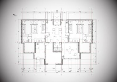 A grey vector detailed blueprint of a typical house construction