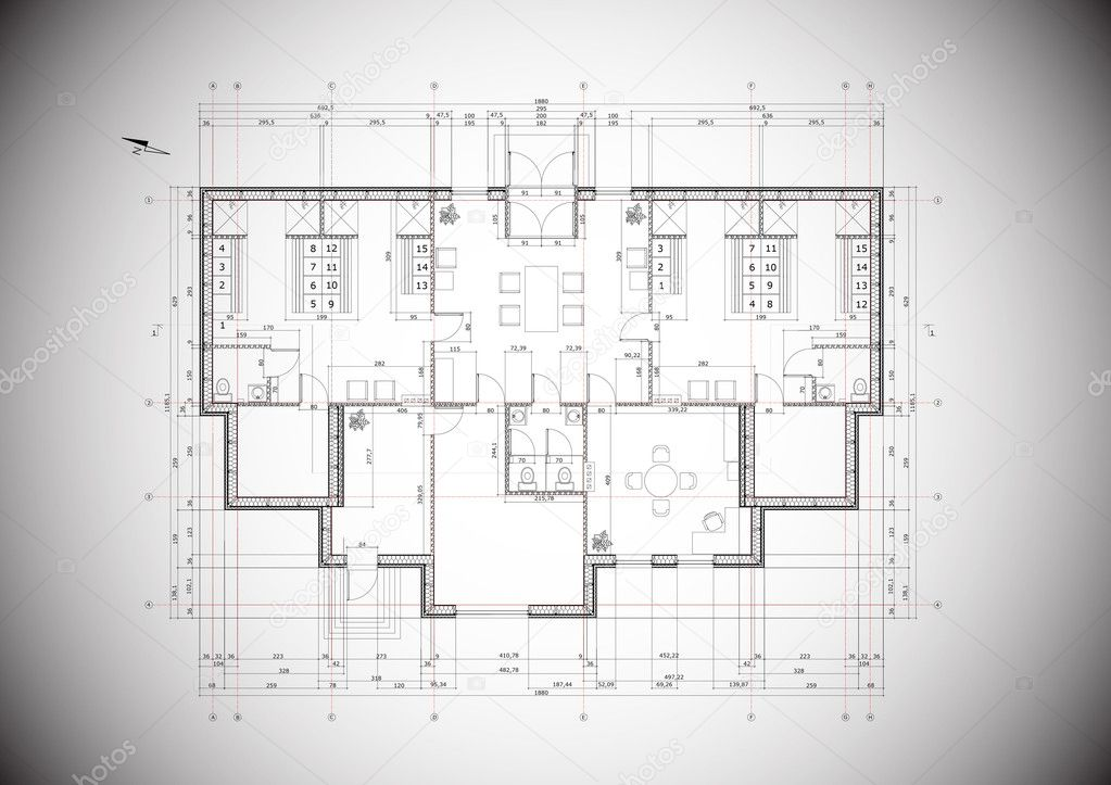 A grey vector detailed blueprint of a typical house construction a grey vector detailed blueprint of a typical house construction stock vector malvernweather