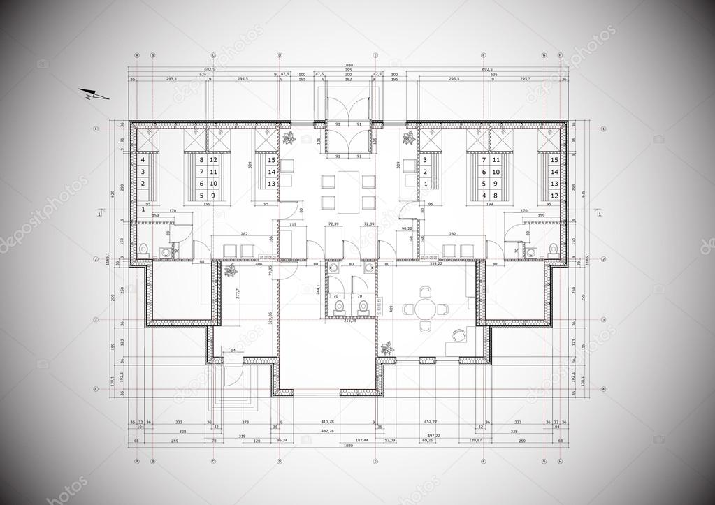 A grey vector detailed blueprint of a typical house construction a grey vector detailed blueprint of a typical house construction stock vector malvernweather Images