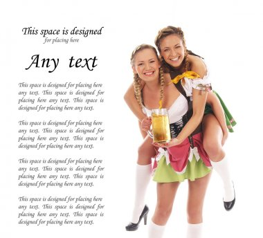 Young and beautiful bavarian girls isolated over white backgroun