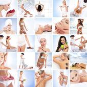 koláž obrazů krásné ženy a zdraví