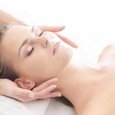 Young attractive girl in spa