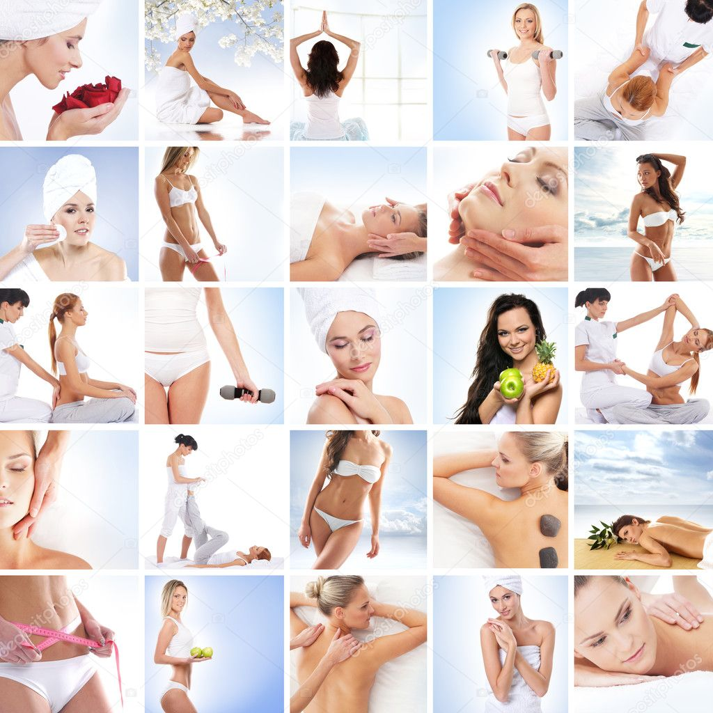 A collage of images with lovely women and health