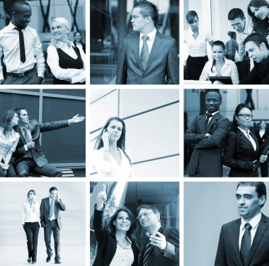 A business collage with many young and smart people