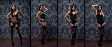 Fashion shoot of young sexy woman in lingerie