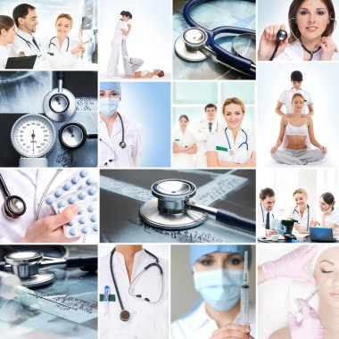 A collage of medical workers and tools
