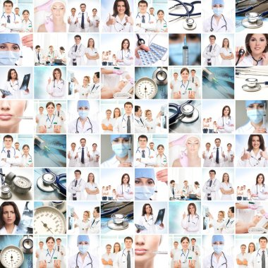 Medical collage. Professional doctors working in a clinic. stock vector
