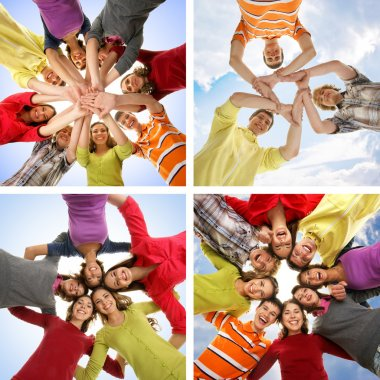 Collage of groups of happy teenagers