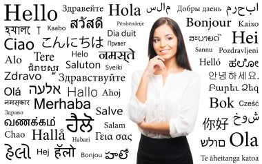 Businesswoman with a different world languages