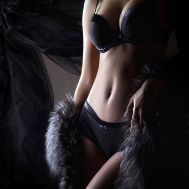 Young sexy woman in vintage lingerie