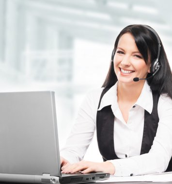 Beautiful customer support operator working