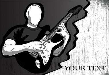 Playing electric guitar - vector abstract background