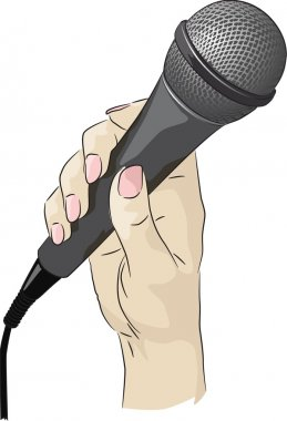 Vector drawing of a hand holding a microphone