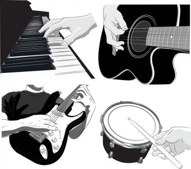 Playing music - vector set
