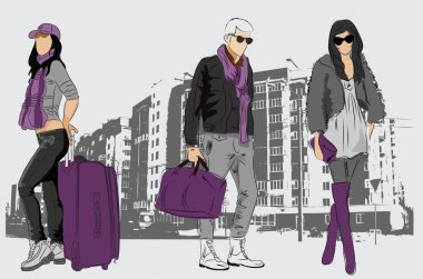 Vector sketch of fashionable men and women on city background clip art vector