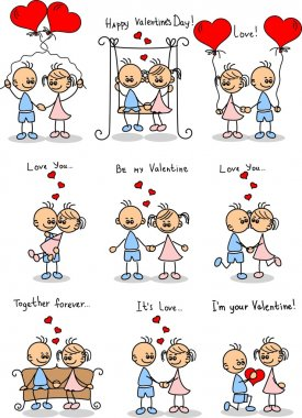 Couple in love, a child's drawing, the vector clip art vector