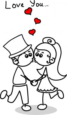 Cute love, the bride and groom