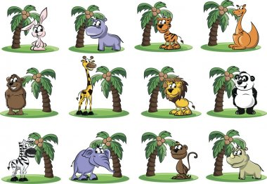 Set of wild and domestic animals