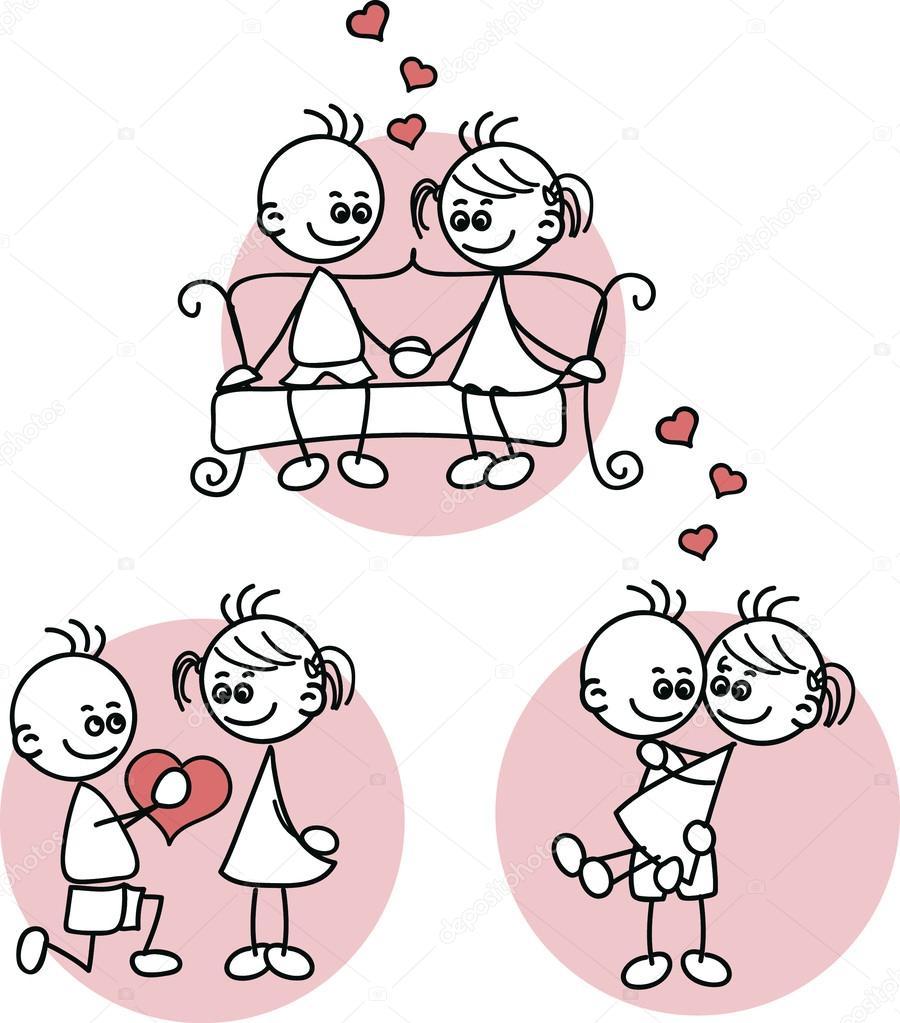 o desenho do casal apaixonado uma criança vetores de stock
