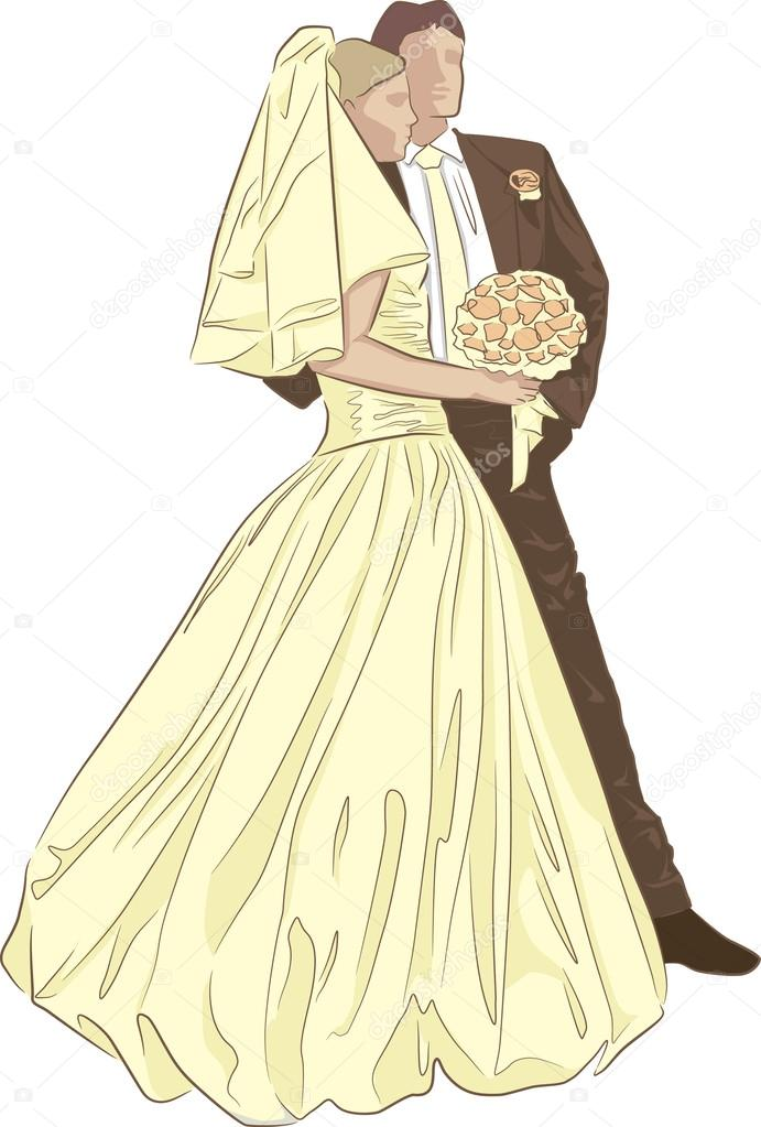 Bride And Groom Vintage Style Stock Vector