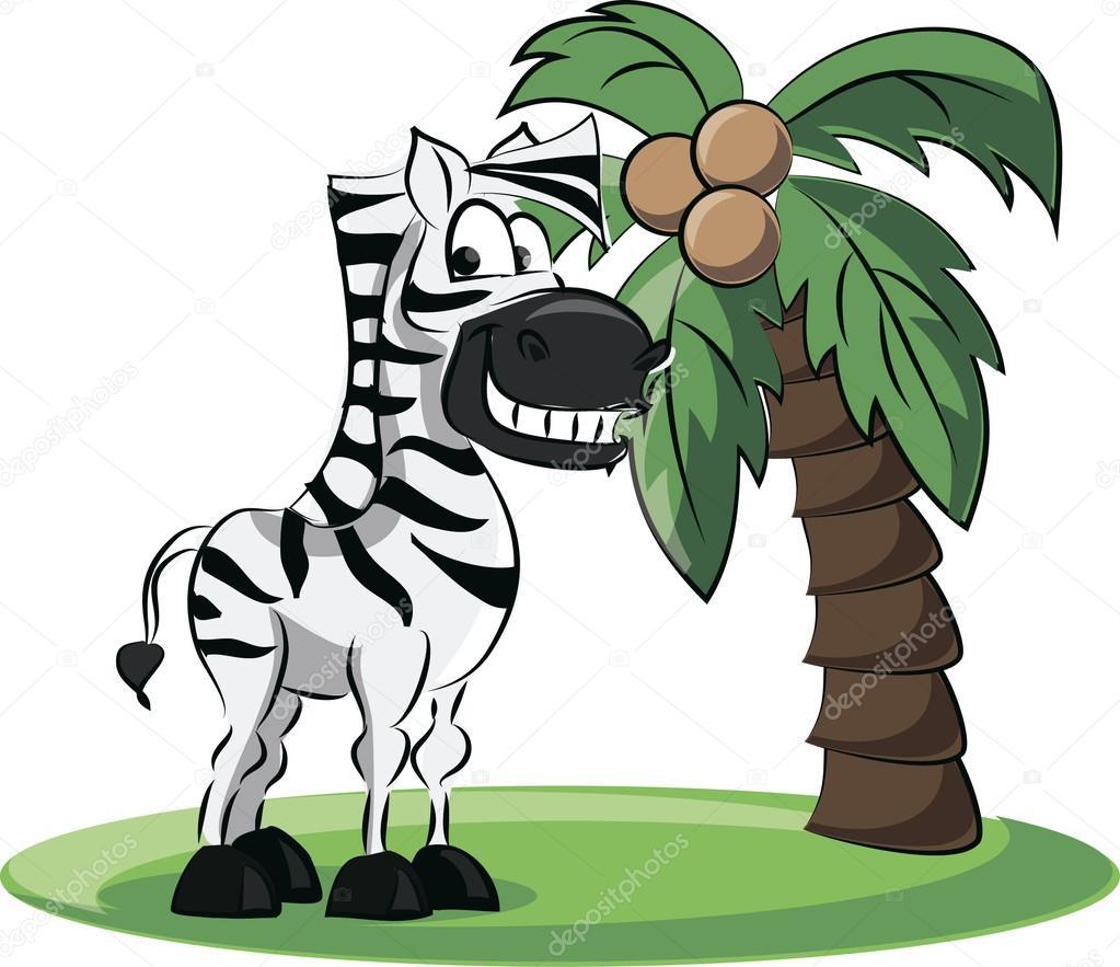 Cartone animato zebra con palma u2014 vettoriali stock © sketchmaster