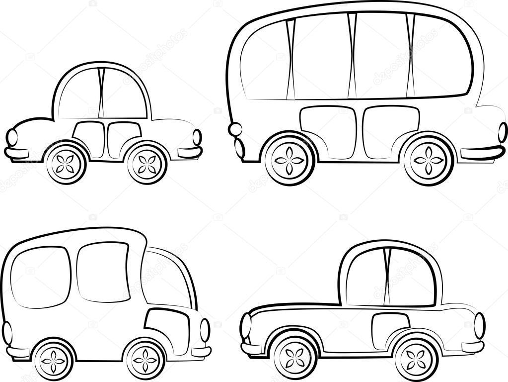 coches de dibujos animados, lindo para colorear — Vector de stock ...