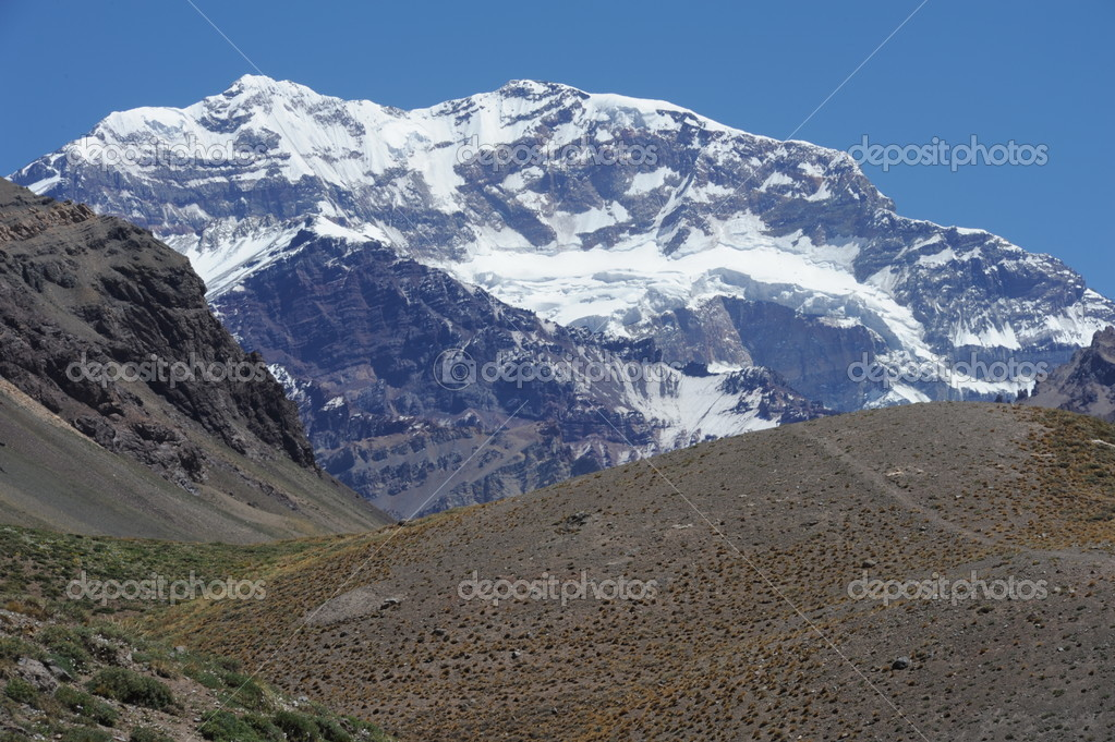 The south wall of Aconcagua mountain