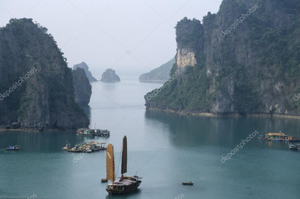 Boat and Islands in Halong Bay, Northern Vietnam