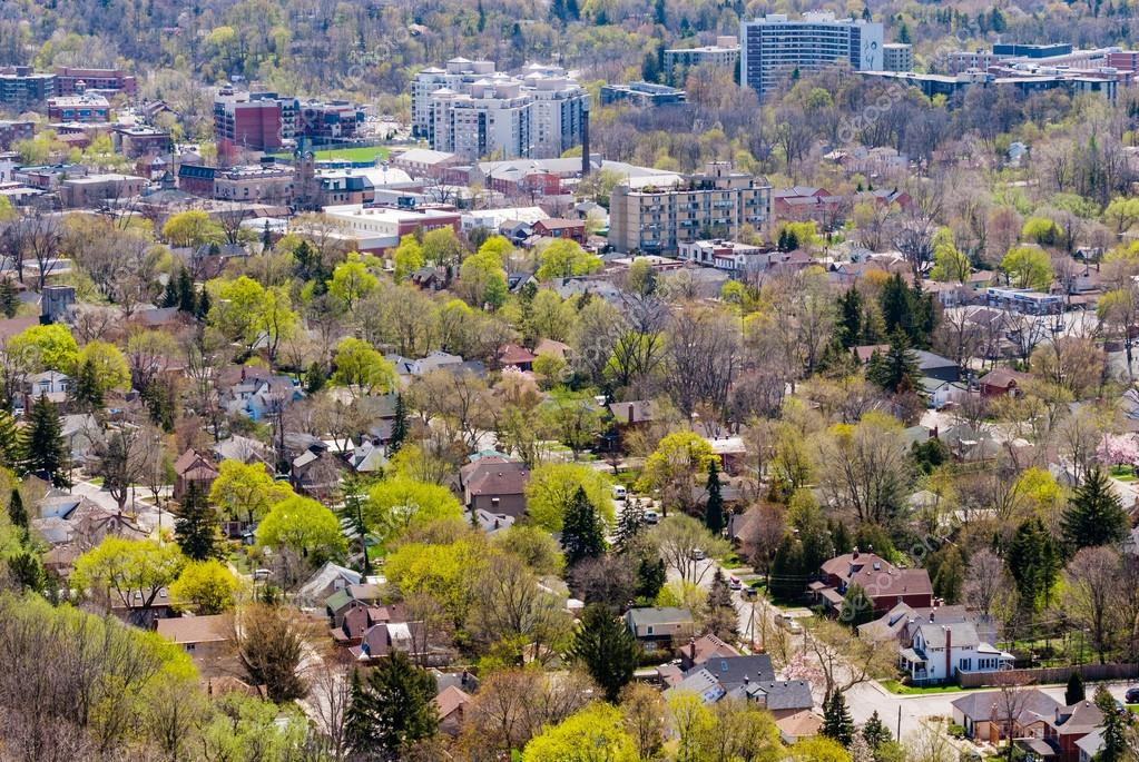 Neighbourhood with blooming trees.