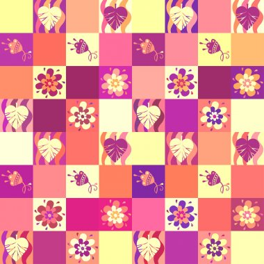 Seamless patchwork pattern with leaves and flowers