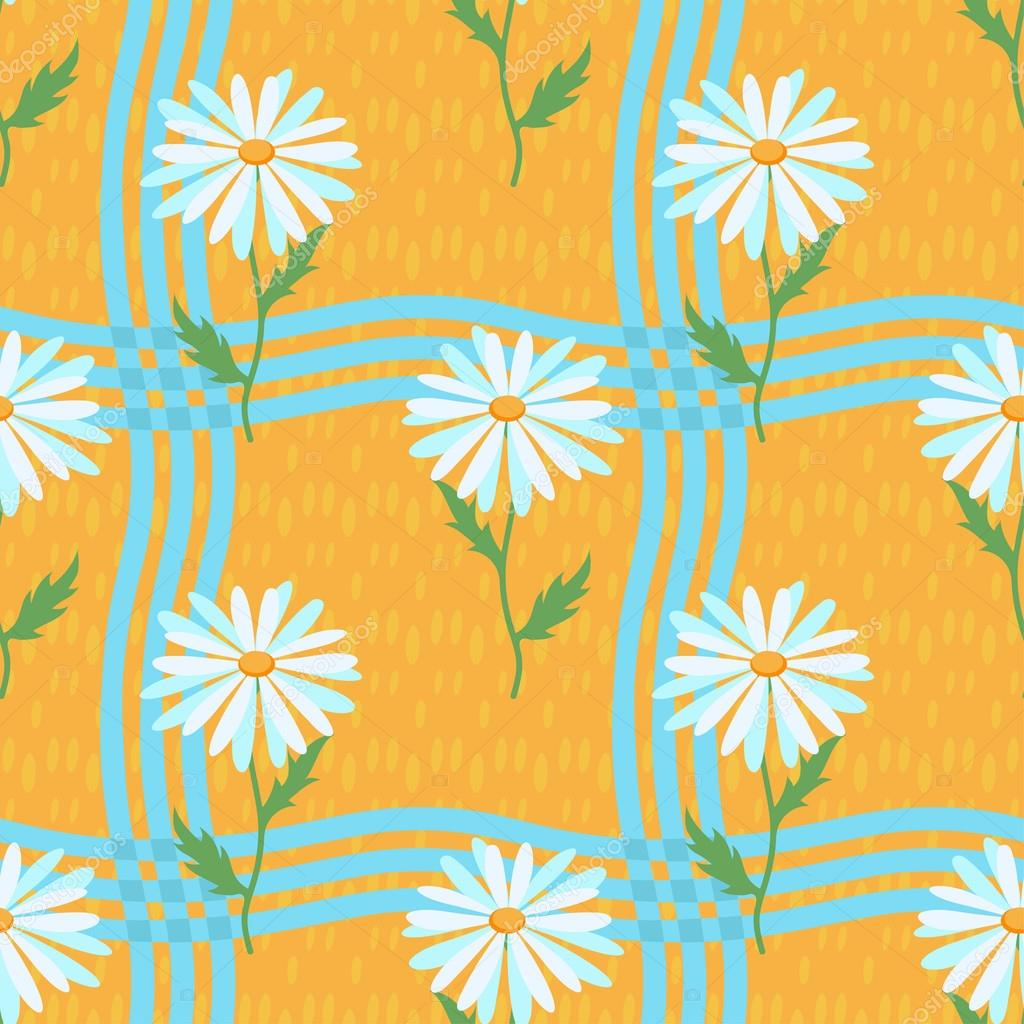 Seamless yellow pattern with chamomiles and blue stripes