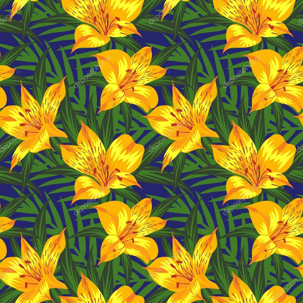 Seamless pattern with yellow flowers (alstroemeria)