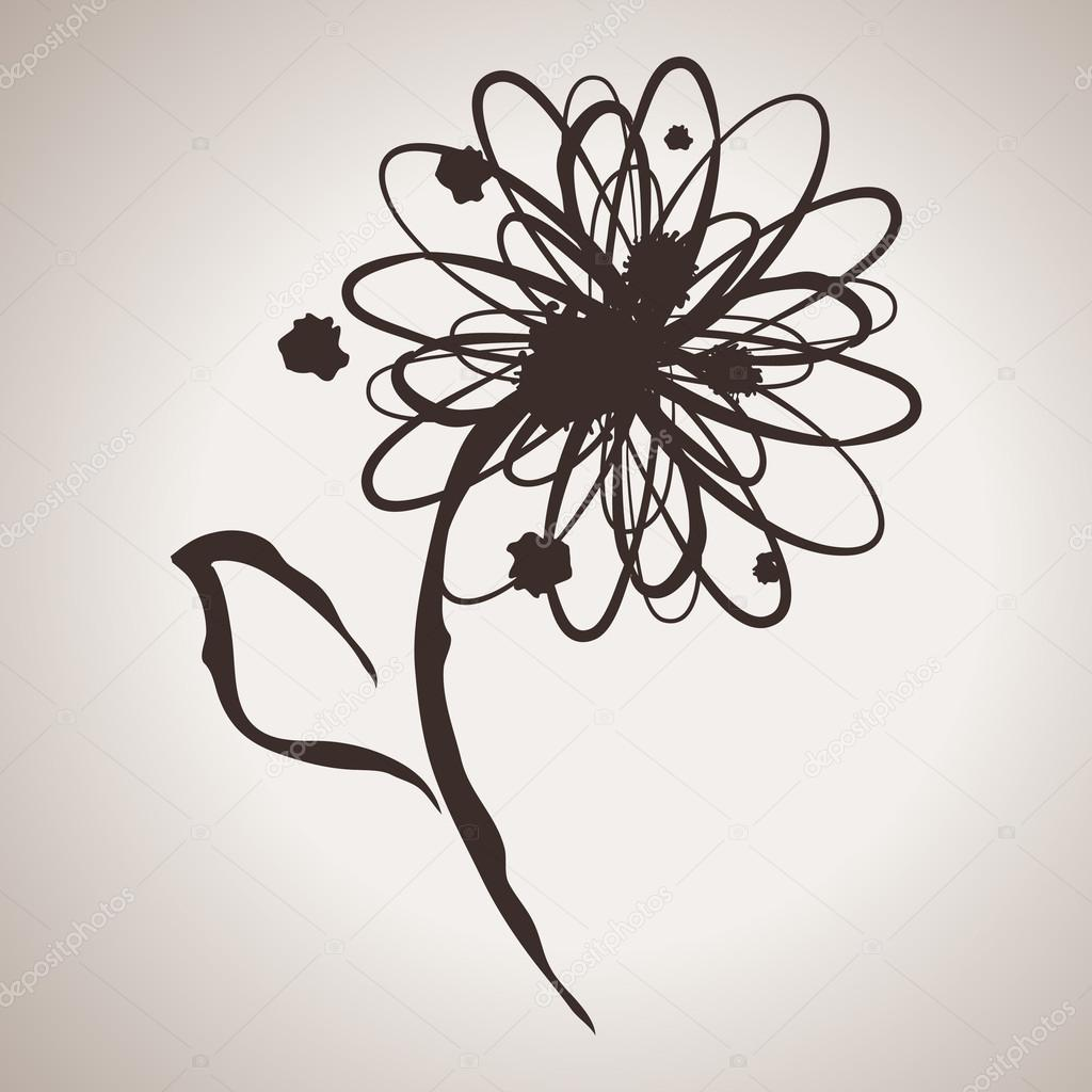 Grunge elegance ink splash illustration with daisy or gerbera flower
