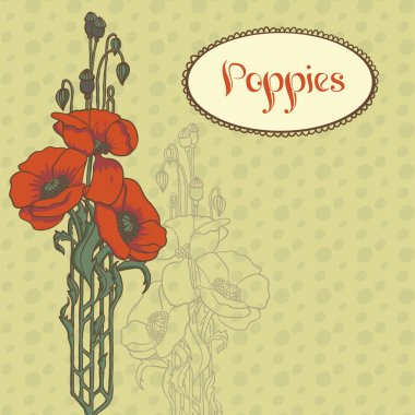 Illustration with three red poppies and title in old style.