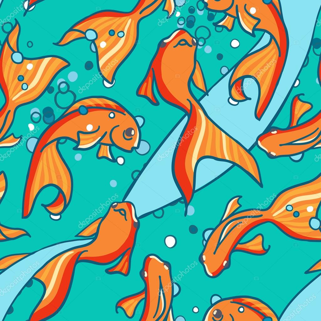 Seamless pattern of gold fishes in water.