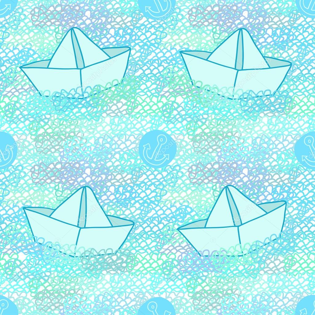 Seamless funny pattern with anchors and paper ships