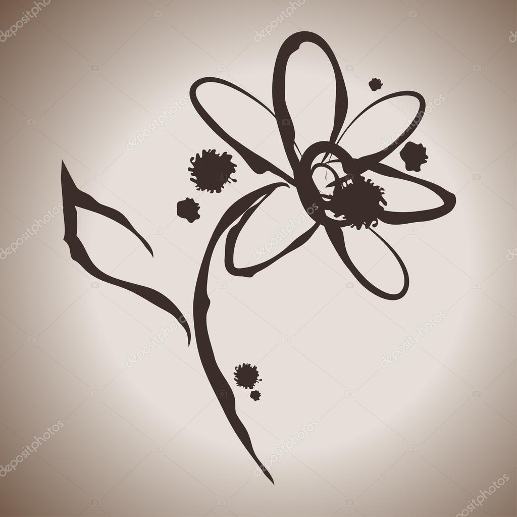 Grunge elegance ink splash illustration with daisy flower