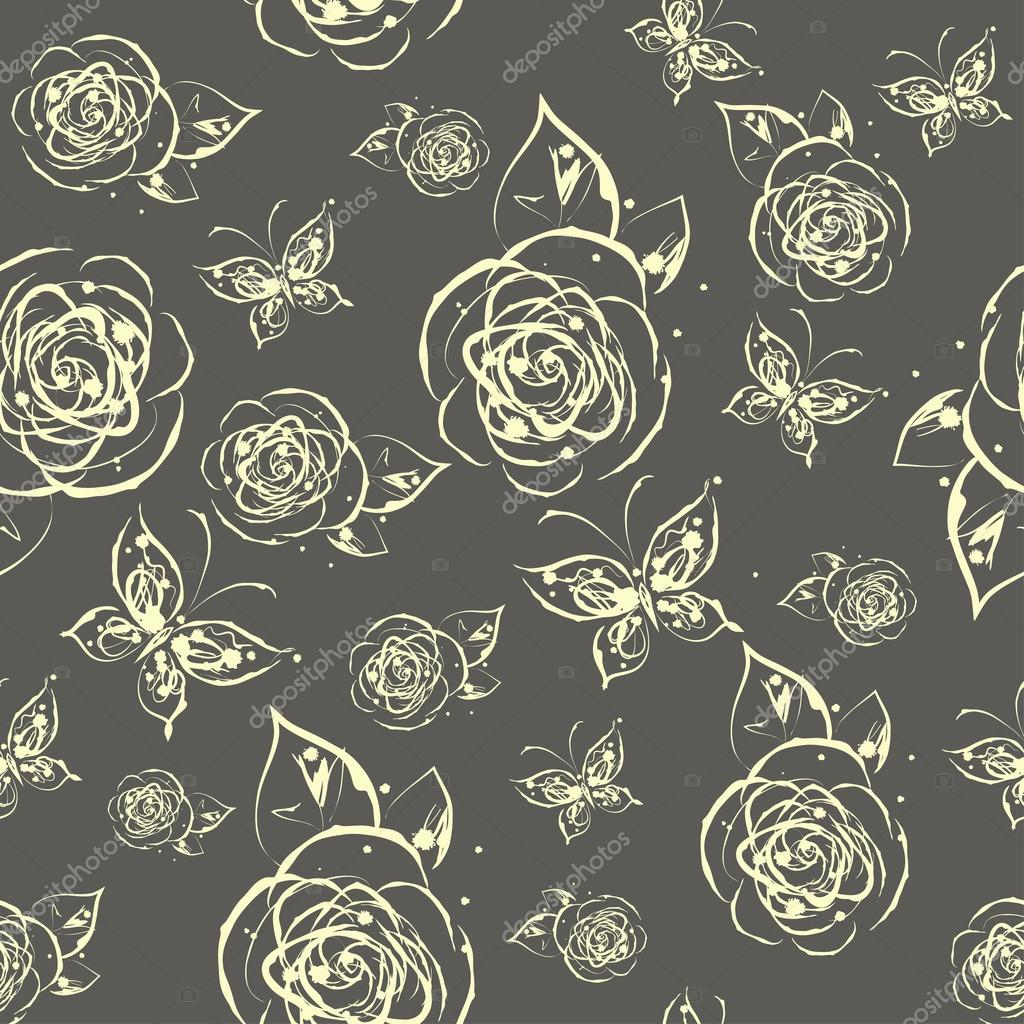 Grunge ink splash seamless pattern with roses and butterflies