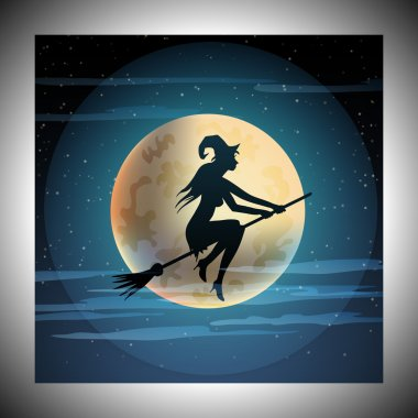 Halloween illustration of witch on broom and moon