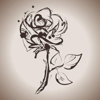 Grunge elegance ink splash illustration of rose flower