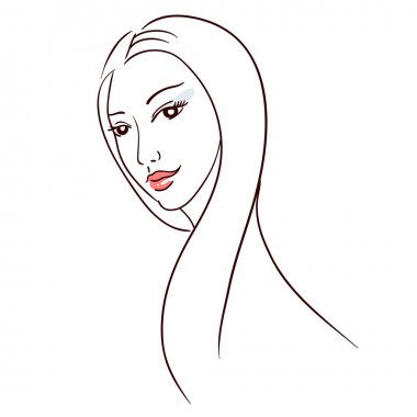 Elegance line art: woman with long hair