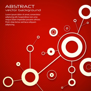 Abstract modern red background of science with circles and lines. eps10